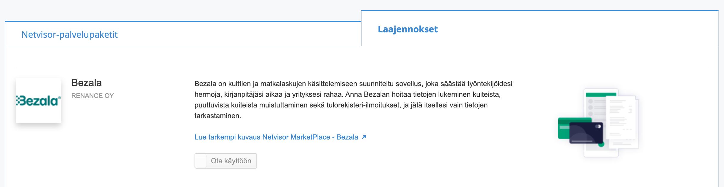 Aktivoi Bezala Netvisor Storesta